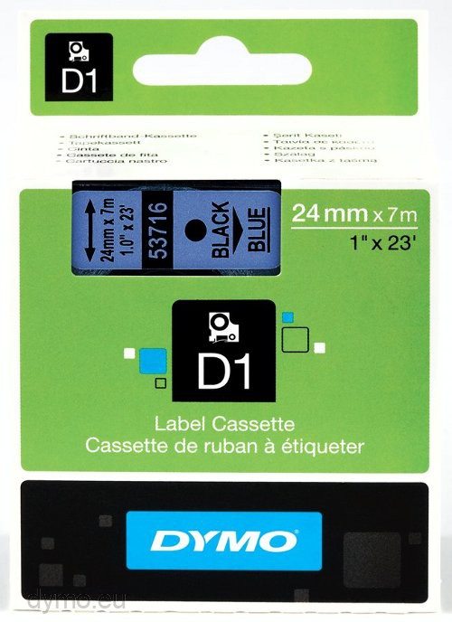 tape cartridge 53718 black on yellow background 24mm x 7m for D1 DYMO labeller