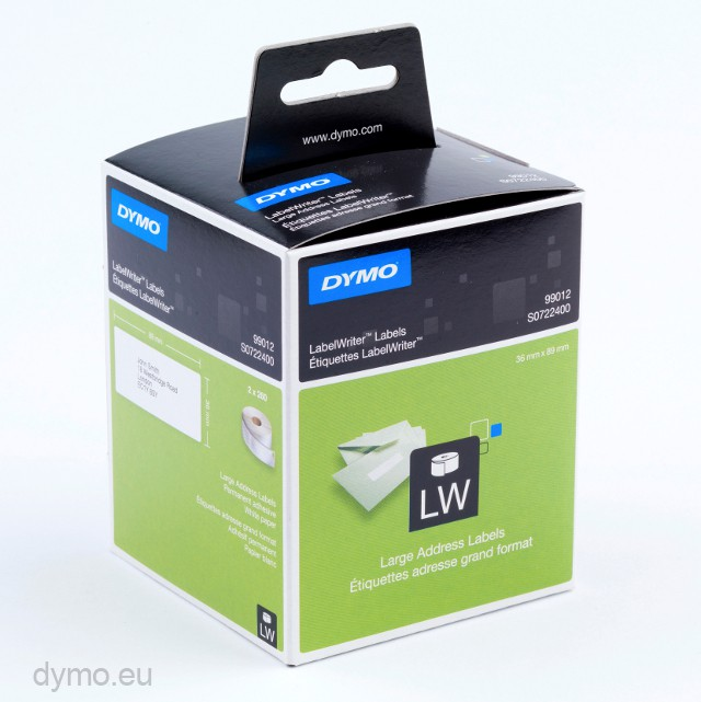 Dymo 99012 Large Address Labels 89mm x 36mm | Dymo.eu
