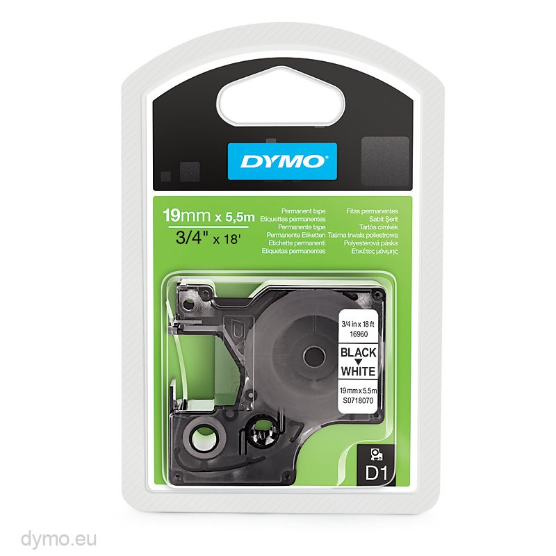 Dymo 16960 D1 permanent polyester 19mm zwart op wit ...