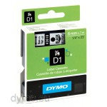 Dymo S0720770 D1 43610 Tape 6mm x 7m Black on Clear