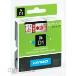 Dymo S0720520 D1 45012 Tape 12mm x 7m Red on Clear
