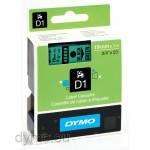 Dymo S0720890 D1 45809 Tape 19mm x 7m Black on Green