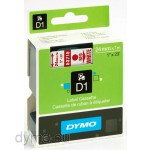 Dymo S0720950 D1 53715 Tape 24mm x 7m Red on White
