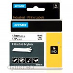 Dymo RHINO 18488 flexible nylon tape black on white 12mm