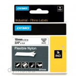 Dymo RHINO 18489 flexible nylon tape black on white 19mm