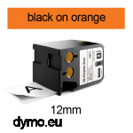 DYMO 1868766 XTL All-Purpose Vinyl 12mm Black on Orange
