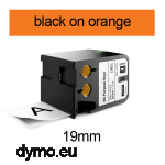 DYMO 1868767 XTL All-Purpose Vinyl 19mm Black on Orange