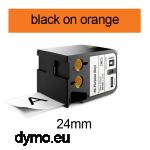 DYMO 1868768 XTL All-Purpose Vinyl 24mm Black on Orange