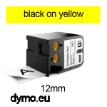 DYMO 1868771 XTL All-Purpose Vinyl 12mm Black onYellow