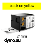 DYMO 1868773 XTL All-Purpose Vinyl 24mm Black on Yellow