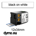 DYMO 1868718 XTL Shrink Tube 12x34mm Black on White