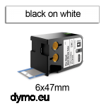 DYMO 1868731 XTL Shrink Tube 6x47mm Black on White