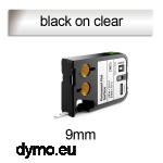 DYMO 1868739 XTL Permanent Flat 9mm Black on Clear