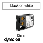 DYMO 1868737 XTL Permanent Flat 12mm Black on White