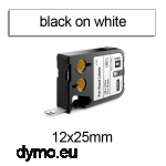DYMO 1868666 XTL Label 12x25mm Black on White