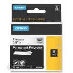 Dymo RHINO 18508 permanent polyester black on clear 9mm