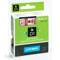 Dymo S0720850 D1 45805 Tape 19mm x 7m Red on White