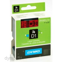 Dymo S0720970 D1 53717 Tape 24mm x 7m Black on Red