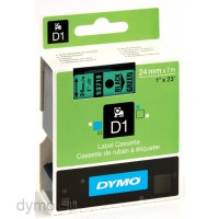 Dymo S0720990 D1 53719 Tape 24mm x 7m Black on Green
