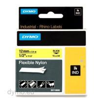 Dymo RHINO 18490 flexible nylon black on yellow 12mm