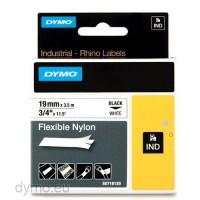 Dymo RHINO 18489 flexible nylon tape black on white 19mm