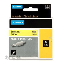 Dymo RHINO 18054 heat shrink tubing black on yellow 9mm