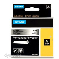 Dymo RHINO 18487 permanent polyester black on metallic 19mm