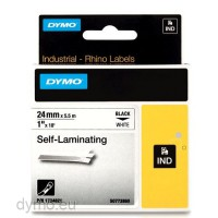 Dymo RHINO 1734821 self-laminating vinyl black on white 24mm