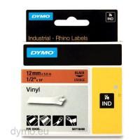 Dymo RHINO 18435 vinyl black on orange 12mm