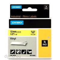 Dymo 18432 RHINO vinyl zwart op geel 12mm