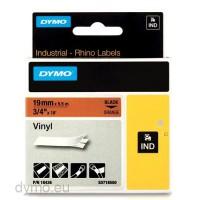 Dymo RHINO 18436 vinyl black on orange 19mm