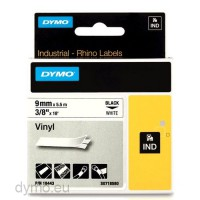 Dymo RHINO 18443 vinyl black on white 9mm