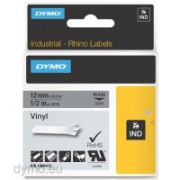 Dymo RHINO 1805413 vinyl black on grey 12mm