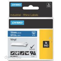 Dymo RHINO 1805417 vinyl white on blue 19mm