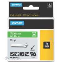 Dymo RHINO 1805420 vinyl white on green 19mm