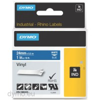 Dymo RHINO 1805423 vinyl white on blue 24mm