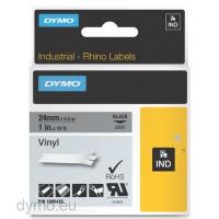 Dymo RHINO 1805425 vinyl black on grey 24mm