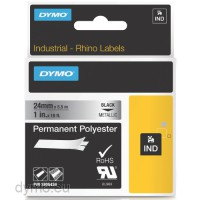 Dymo RHINO 1805434 permanent polyester black on metallic 24 mm