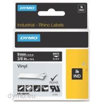 Dymo RHINO 1805437 vinyl white on black 9mm