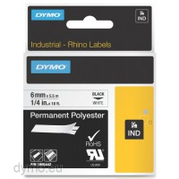 Dymo RHINO 1805442 permanent polyester black on white 6mm