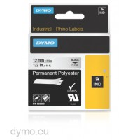 Dymo RHINO 622289 permanent polyester black on clear 12mm