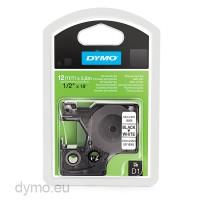 Dymo S0718060 D1 16959 Permanent Polyester Tape 12mm x 5,5m Black on White