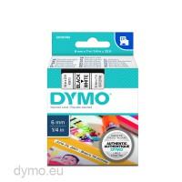Dymo S0720780 D1 43613 Tape 6mm x 7m Black on White