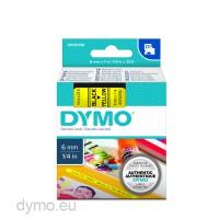Dymo S0720790 D1 43618 Tape 6mm x 7m Black on Yellow