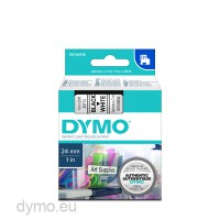 Dymo S0720930 D1 53713 Tape 24mm x 7m Black on White