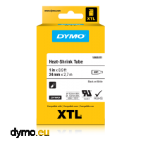 DYMO 1868810 XTL Heat-Shrink Tube 12mm Black on White
